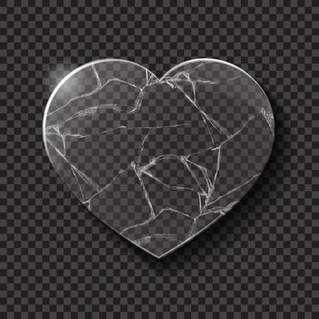 heart damage: Illustration of broken heart made from glass on dark background. Vector