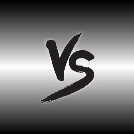 versus: Versus letters logo. Black watercolored letters V and S symbols. Illustration