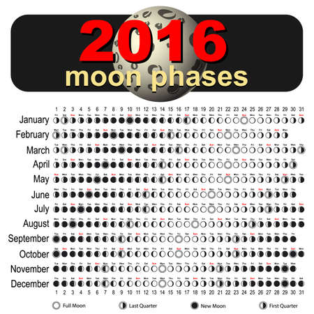 waxing gibbous: Moon Phases Calendar 2016. Cartoon moon, Vector Illustration
