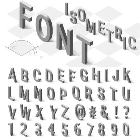 Isometric font alphabet with drop shadow on white background. Vector illustration