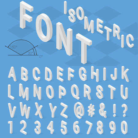 retro font: Isometric font alphabet with drop shadow on blue background. Vector illustration