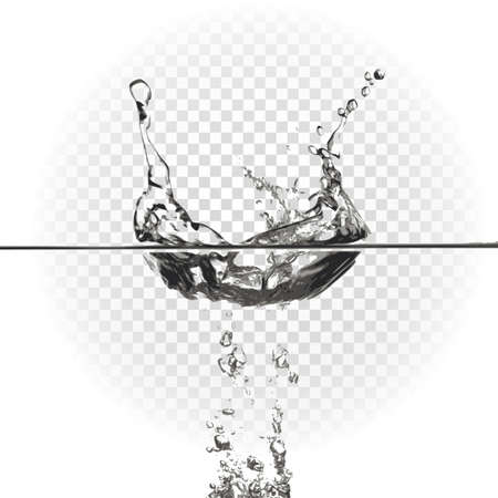 Transparent water splash effect, spray. Vector illustration