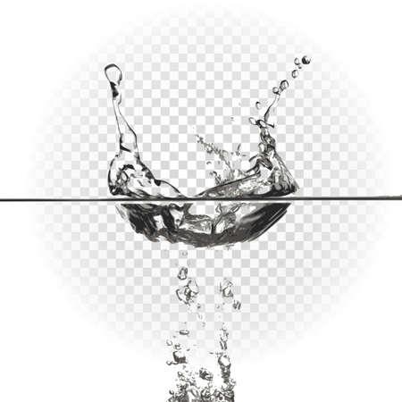 Trasparente effetto spruzzi d'acqua, spruzzi. Illustrazione vettoriale