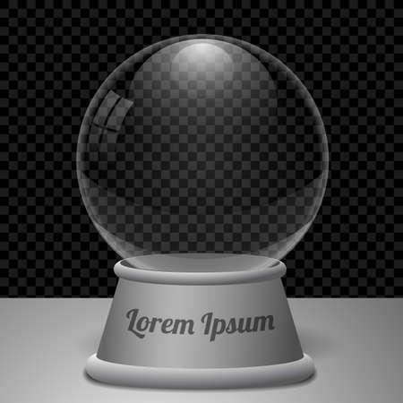 augur: Empty transparent snow globe or divination ball. Vector Illustration