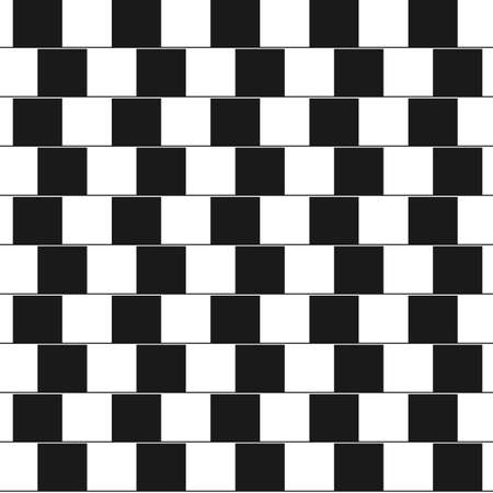 Optical illusion - parallel lines made from black and white pillows. Vector Illustration Vettoriali