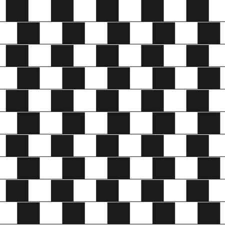 Optische illusie - parallelle lijnen gemaakt van zwart en witte kussens. Vector Illustratie