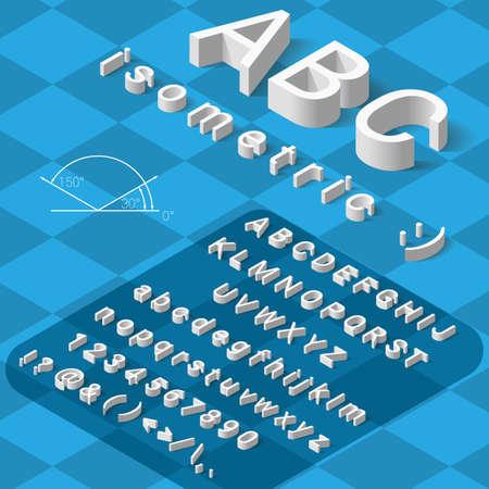 Isometrische lettertype alfabet met slagschaduw op een blauwe achtergrond. vector illustratie Stock Illustratie