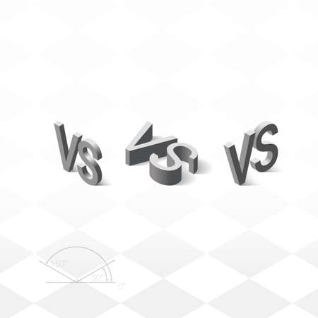 water s: Versus letters logo. Grey isometric letters V and S symbols.