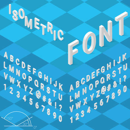 Isometric font alphabet with drop shadow on blue background. Vector illustration