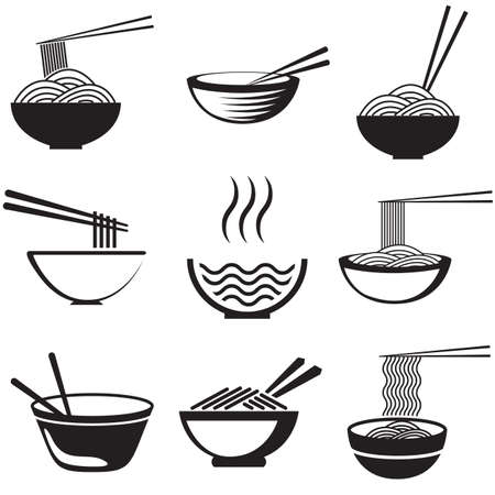 Set of noodles or spaghetti in different dishes. Black on white.   Illustration