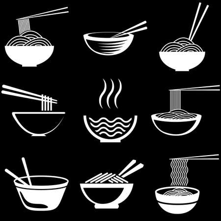 Set of noodles or spaghetti in different dishes. White on black.