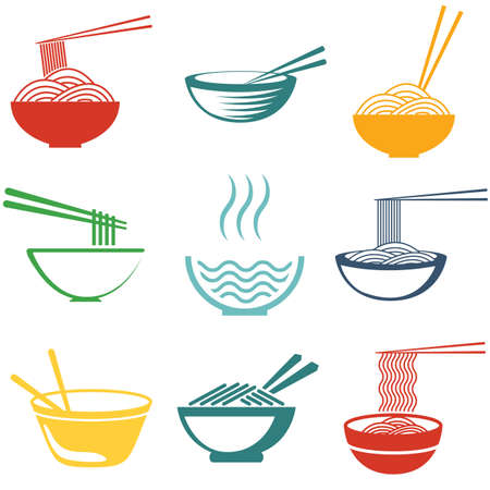 Set of noodles or spaghetti in different dishes. Colored on white.  Ilustração