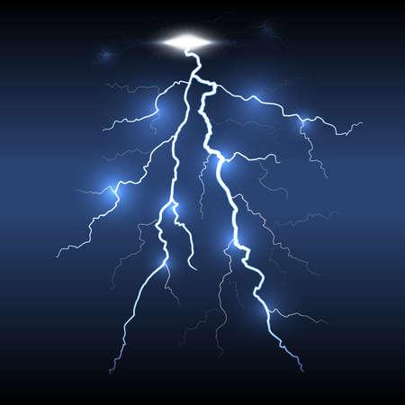 Lightning flash detailed strike, dark background.