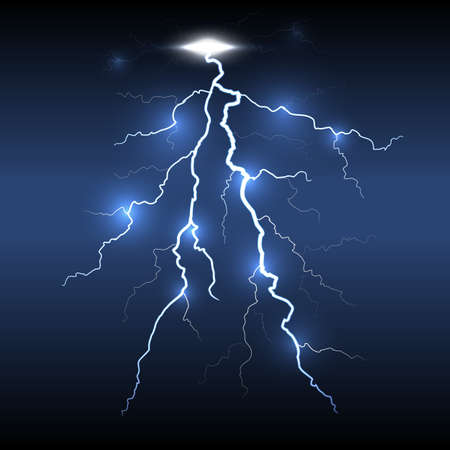 lightning storm: Lightning flash detailed strike, dark background.  Illustration