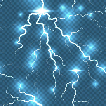 electrical energy: Lightning flash detailed strike seamless, transparent background.  Illustration