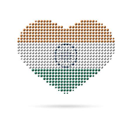 tricolor: I love India, Creative design, tricolor heart flag