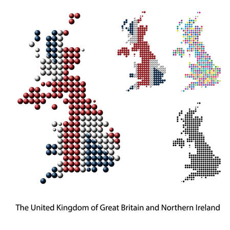 great britain: UK, Great Britain Border Map with Flag colors, dotted creative design Illustration