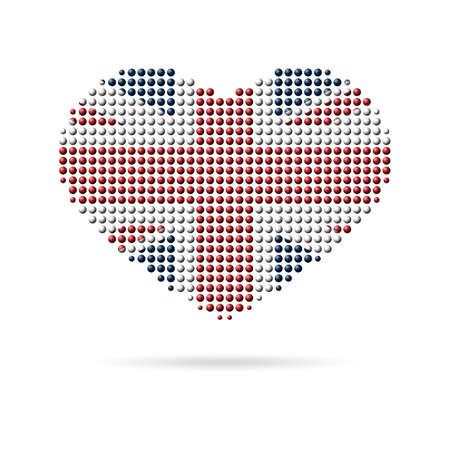 I love UK, United Kingdom, Great Britain. Creative design, multicolored dotted heart flag Ilustrace