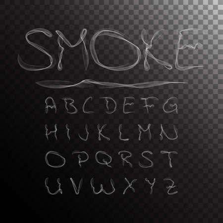 Dym alfabet, czcionka, abc na przezroczystym tle. ilustracji wektorowych