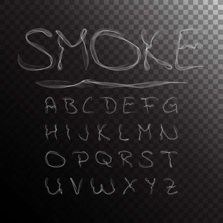 Smoke Alphabet, font, abc on transparent background. Vector illustration