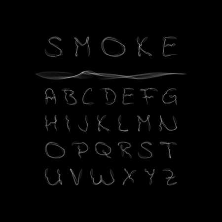 Smoke Alphabet, font, abc on black background. Vector illustration