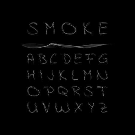 Smoke Alphabet, font, abc on black background. Vector illustration