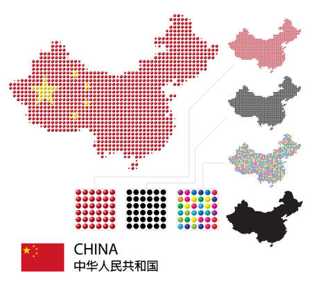 Set of China Border Maps with Flag colors, dotted creative design Ilustrace