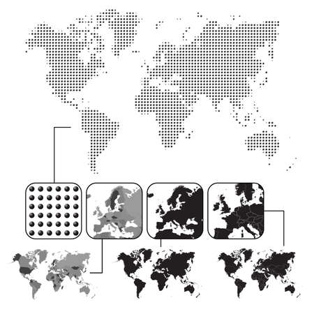 north america: Set of world maps - dotted, black, grey with contour