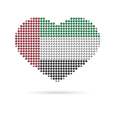 I love UAE, Unated Arab Emirates. Creative design, multicolored dotted heart flag