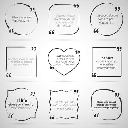 Set of nine citations in tex boxes, frames and quotes. Black and white. Vector