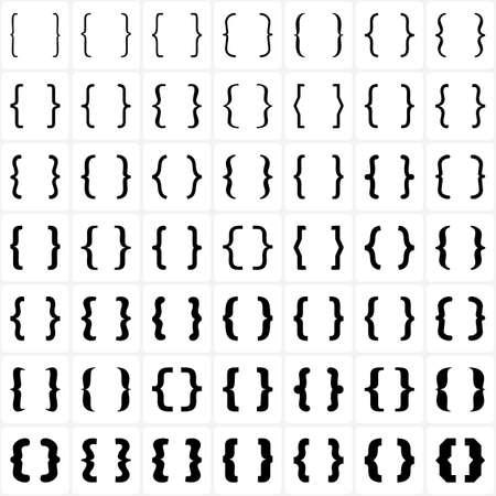 Set van beugels of accolades pictogram op een witte achtergrond. Vector