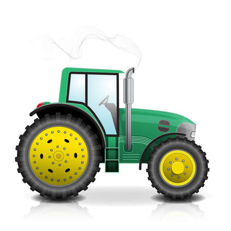 Realistic green tractor isolated with smoke on white background.