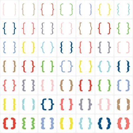 Reeks gekleurde bretels of accolades pictogram op een witte achtergrond. Vector Stock Illustratie