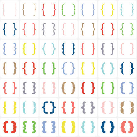 Set of colored braces or curly brackets icon on white background. Vector Ilustração