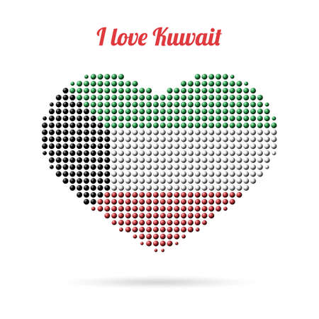 I love Kuwait. Creative design, multicolored dotted heart flag Ilustrace
