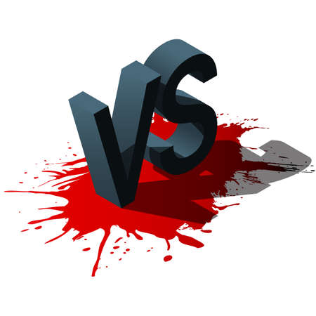 versus: Isometric Versus letters or vs logo isolated on red splash. Flat style modern logotype design vector illustration