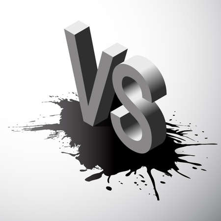 water s: Isometric Versus letters or vs logo isolated on black splash. Flat style modern logotype design