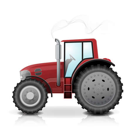 Realistic red tractor isolated with smoke on white background. Illustration