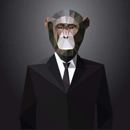 low poly: Illustration of Monkey in jacket with tie. Vector polygonal elements.