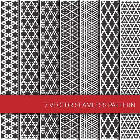 Set of seven monochrome seamless geometrical patterns. Vector