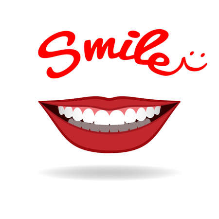 Realistic charming smile isolated on white. Vector Illustration