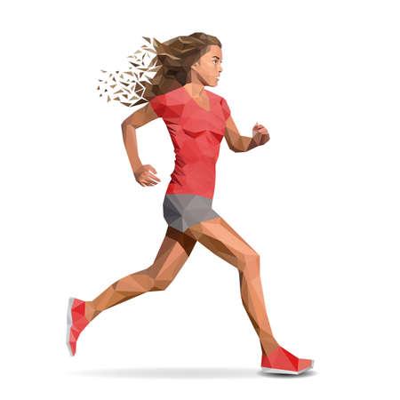 mujer deportista: Mujer, niña corriendo maratón. Diseñado utilizando elementos poligonales.