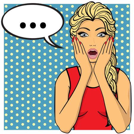 amazement: Young woman,lady shows amazement, shok. Vector illustration. Pop art comics style