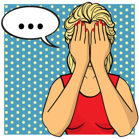Young woman,lady with palms on her face. Crying girl in red dress. Vector illustration. Pop art comics style 일러스트