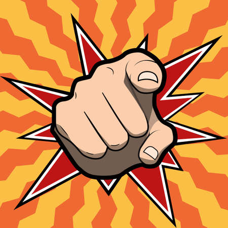 need direction: Vector pointing finger or hand pointing icon isolated on colored background