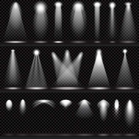 Scène verlichting collectie, transparante effecten op een plaid donkere achtergrond. Heldere verlichting met schijnwerpers.