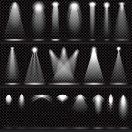 stage spotlight: Scene illumination collection, transparent effects on a plaid dark  background. Bright lighting with spotlights.