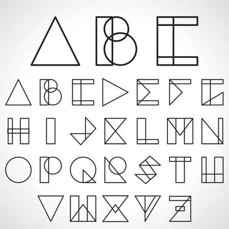 Font, ABC, alphabet in geometric style, logo on white background. Vector