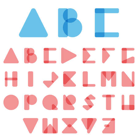 Red and blue creative font, ABC, alphabet in geometric style, logo on white background. Vector