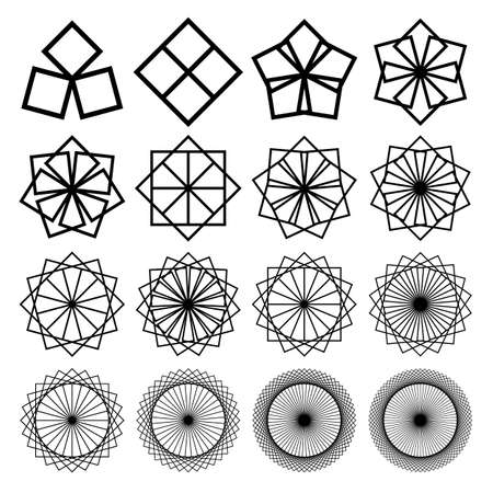 Geometric ornaments set with circles and squares. Abstract creative flowers. Black on white. Vector
